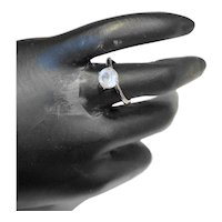 Uncas Silver Tone Clear Stone Solitaire Ring