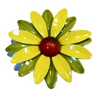 Green Yellow Flower Power Daisy Enamel Pin