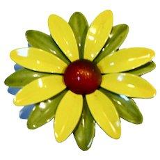Green Yellow Flower Power Daisy Enamel Pin
