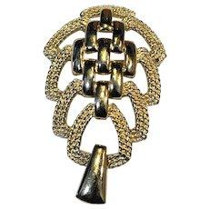 Monet Gold Tone Sculptural Modernist Brooch Pin