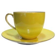 Porzellanfabrik Arzberg Bayern Porcelain Demitasse Cup Saucer Lemon Yellow