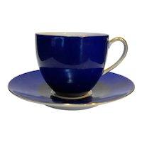 Porzellanfabrik Arzberg Bayern Porcelain Demitasse Cup Saucer Cobalt Blue