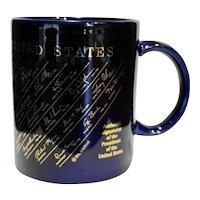 US Presidents Signatures Gold Cobalt Blue Mug 1993-2000