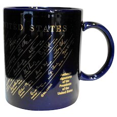US Presidents Signatures Gold Cobalt Blue Mug 1993-2000