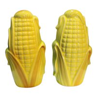 Corn Husks Cob Salt Pepper Shakers Pair Japan Pottery