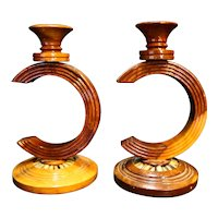 Carved Wood Candle Holders Pair Concentric Rings C Curve