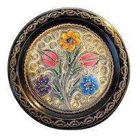 Erzincanlilar Turkish Copper Brass Enamel Hand Painted Floral Plate