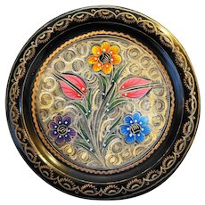 Erzincanlilar Turkish Copper Brass Enamel Hand Painted Floral Plate