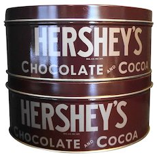 Hershey's Chocolate and Cocoa Vintage Label Tins Pair 1981