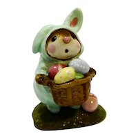 Wee Forest Folk Easter Bunny Mouse M-82 Green 1982 WFF