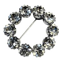 Clear Rhinestone Circle Wreath Pin Rhodium Plated