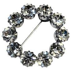 Clear Rhinestone Circle Wreath Pin Rhodium Plated