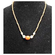 Wood Cloisonne Beads Necklace Single Strand