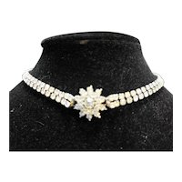 Clear Rhinestone Flower Choker Necklace
