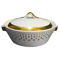 Hall Flare Ware Gold Stars Atomic Casserole Dish Covered Vegetable 8 IN