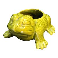Frog Planter Green Glazed Pottery Signed