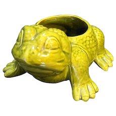 Frog Planter Green Glazed Pottery Signed