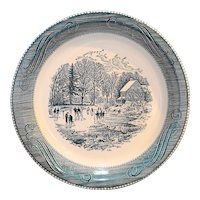 Royal China Currier & Ives Early Winter Pie Plate Blue 10 IN