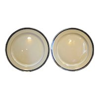 Edgerton Solitaire Dinner Plates Pair Cream Black Platinum Trim