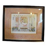 Helen Downing Hunter Tea & Crumpets Watercolor Art Print Signed Framed