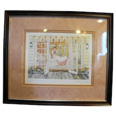 Helen Downing Hunter Tea & Crumpets Watercolor Art Print Signed Framed
