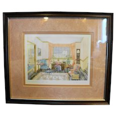 Helen Downing Hunter The Admiral's Letter Watercolor Art Print Signed Framed