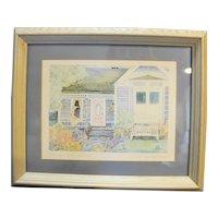 Helen Downing Hunter Mrs Wyman's Cottage Watercolor Art Print Signed Framed