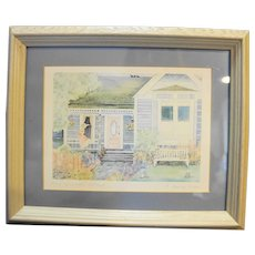 Helen Downing Hunter Mrs Wyman's Cottage Watercolor Art Print Signed Framed