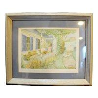 Helen Downing Hunter Midsummer Pasture Watercolor Art Print Signed Framed