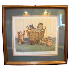 Martha Hinson Kittens Knit 2, Purl 3 Framed Signed Limited Edition Print