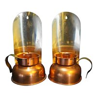 Coppercraft Guild Brass Copper Sconce Wall Lamp Candle Holders Pair
