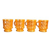 Anchor Hocking Fire King Kimberly Peach Lustre Copper Mugs Set of 4