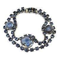 Blue Rhinestone Bracelet Double Strand Vintage 1950s