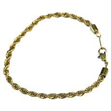 Gold Tone Twisted Rope Bracelet Signed Korea