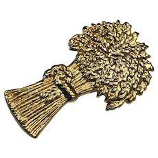 Gold Tone Sheaf of Wheat Pin Brooch