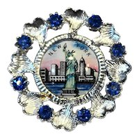 Statue of Liberty New York Souvenir Pin Blue Rhinestone