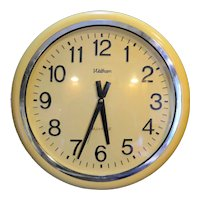 Waltham Yellow Plastic Wall Clock Huge 18 IN Quartz Battery