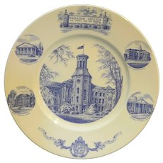 Wheaton College 125th Anniversary Blue on White Wedgwood England Souvenir Plate