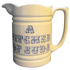 Pitcher of Suds Blue on White Ironstone Pitcher England