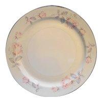 Homer Laughlin Eggshell Nautilus Pastel Pink Rose Chop Cake Plate Round Platter