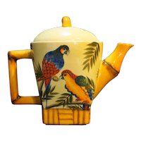 Pacific Rim Bamboo Parrot Teapot Hand Painted