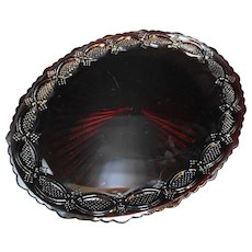 Avon Cape Cod Ruby Red Glass Oval Platter 13 IN
