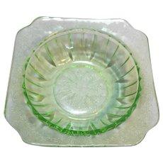 Jeannette Depression Glass Adam Green Square Cereal Bowl
