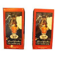 Lord Carlton Blown Glass Clear Candle Lamps Pair WIth Boxes