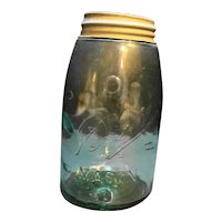 Ball Mason Aqua Slope Shoulder Zinc Lid 1900-1910 Quart Jar