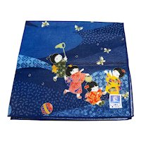 Dark Blue Cotton Print Children Kimonos Chasing Butterflies Handkerchief Vintage