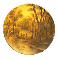 Hand Painted Cabin Forest Scene Plate Artist Signed