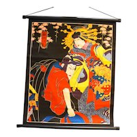 Geisha Samurai Print Wall Hanging Cloth Poster Japan