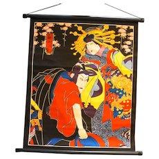 Geisha Samurai Print Wall Hanging Cloth Poster Japan