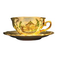 Wiesbaden Germany Souvenir Winterling China Heavy Gold Cup Saucer